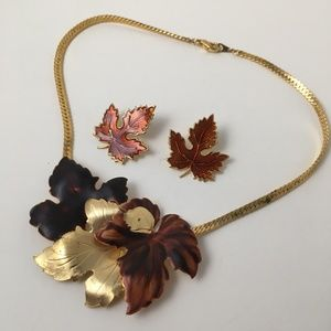 Vintage Leaf Bib Choker Necklace & Earring lot